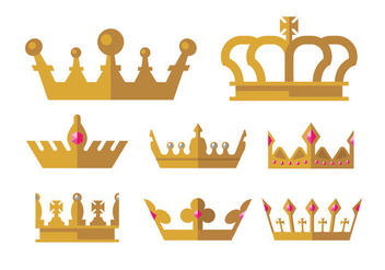 Golden Crown Icons - бесплатный vector #398197