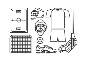 Floorball Equipment Vectors - Free vector #398257