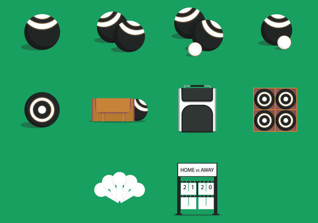 Lawn Bowls Equipment Icon Set - Free vector #398277