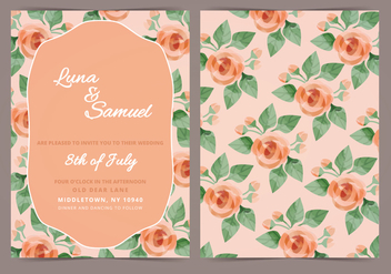 Vector Orange Rose Wedding Invite - vector #398287 gratis