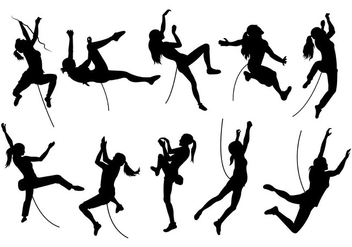 Silhouette Image Of Wall Climbing - Free vector #398347