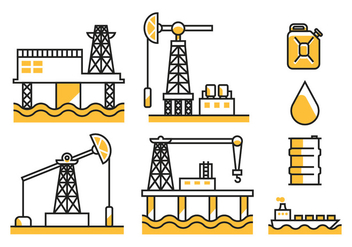 Oil Field Vector Icons - Free vector #398457