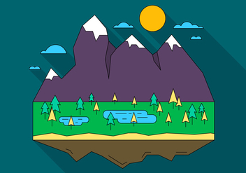 Landscape Island Vector Illustration - Free vector #398527