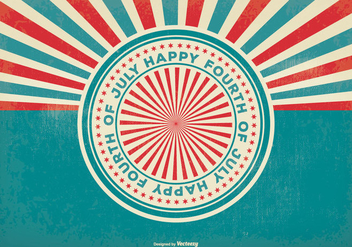 Retro Sunburst Style 4th of July Illustration - Free vector #398557
