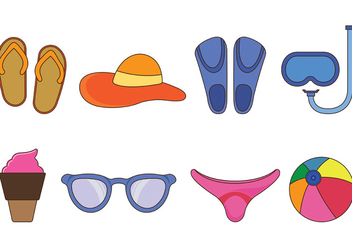 Set Of Beach Vector - Free vector #398577