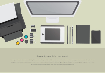 Toner Printer Workspace Layout Staationery Set - Free vector #398597