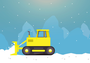 Snow Plow In Action With Mountain - vector gratuit #398697