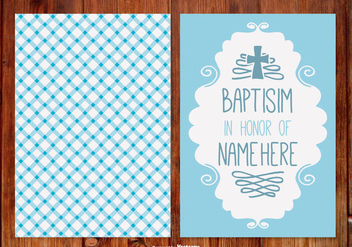 Gingham Baptisim Card for Boy - vector gratuit #398747