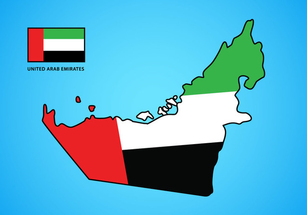 UAE Map with Flag Vector - Kostenloses vector #398877