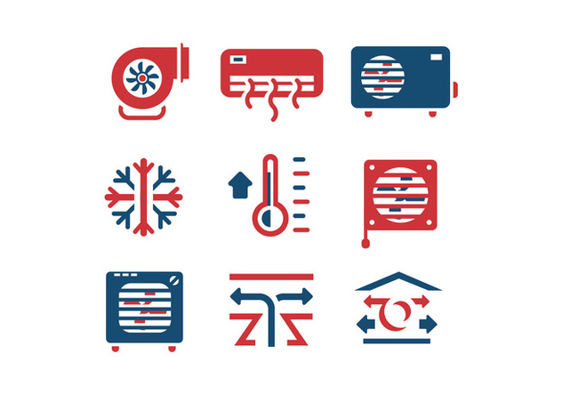 Air conditioning set vector icons - Free vector #398897