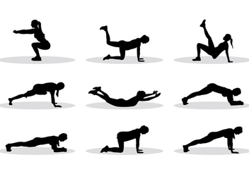 Silhouette Of Exercise Vectors - vector gratuit #398937