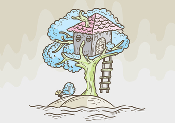 Tree House Vector Illustration - бесплатный vector #398967