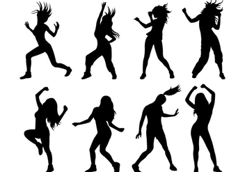 Set Of Zumba Silhouettes - Free vector #398997