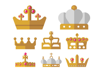 Golden Crown Vector Icons - vector gratuit #399177