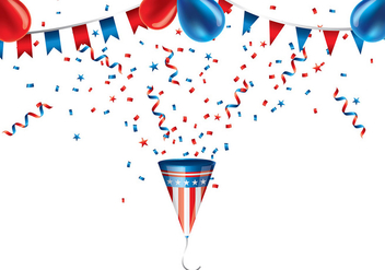 Party Popper US Colors Vector - бесплатный vector #399237