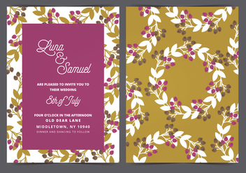 Wreath Vector Wedding Invite - бесплатный vector #399397