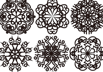 Vector Set Of Elegant Snowflakes - Free vector #399427