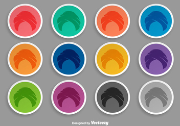 Turban Icon Set Of Stickers - vector gratuit #399477