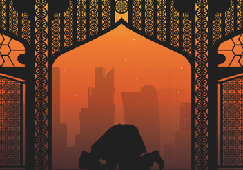 Qatar Man Pray Illustration - бесплатный vector #399827