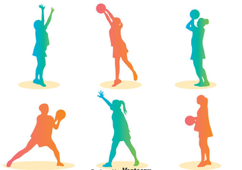 Colorful Silhouette Netball Player Vector - vector #400287 gratis