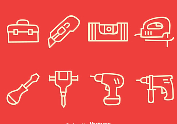 Construction Tools Line Icons Vector - vector #400317 gratis