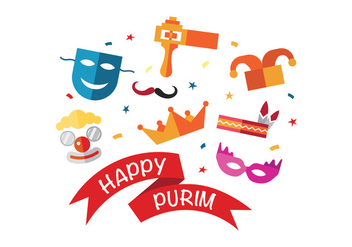 Fun Happy Purim Vector Icons - Free vector #400447