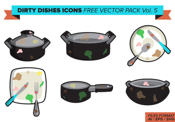 Dirty Dishes Icons Free Vector Pack Vol. 5 - vector #400517 gratis