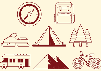 Camping Activities Icons - vector #400587 gratis