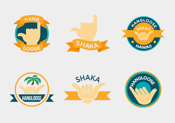 Shaka Label Hand Vectors - бесплатный vector #400737