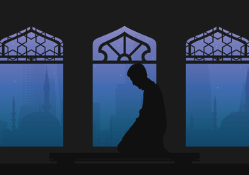 Qatar Man Pray Illustration - Free vector #400847