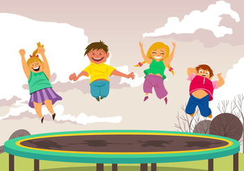 Boy And Girl Jumping On Trampoline - Free vector #401187