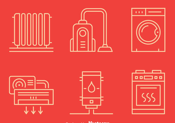 Home Appliance Line Icons - vector #401237 gratis