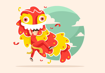 Lion Dance Vector - Free vector #401317