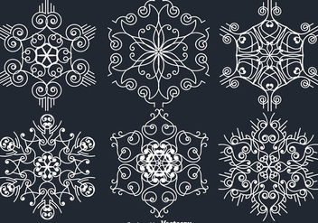 White Ornamental White Snowflakes - vector gratuit #401567