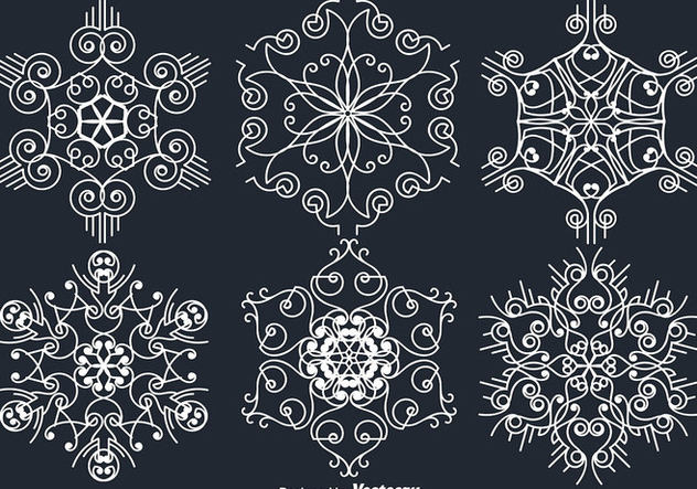 White Ornamental White Snowflakes - Kostenloses vector #401567