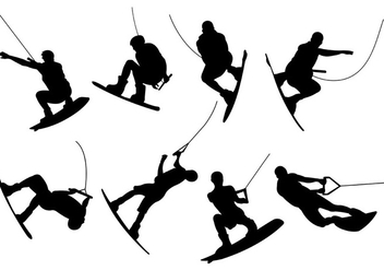 Silhouettes Of Wakeboarding Vectors - бесплатный vector #401607