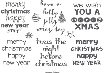 Hand Drawn Style Christmas Lables - vector gratuit #401767