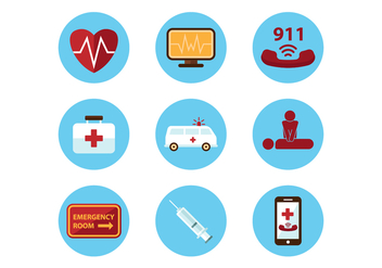 Free Medical Emergency Icons - vector #401797 gratis