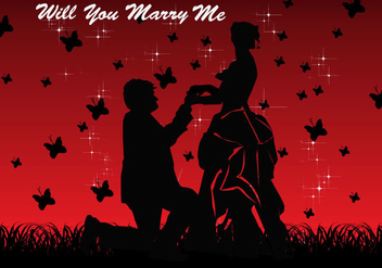 Will You Marry Me Card Vector - vector gratuit #401867