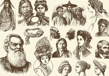 Sepia Hairstyles And Headdress Illustrations - бесплатный vector #402027