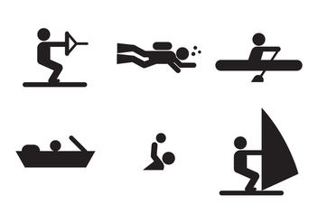 Water Sports Icons - vector #402087 gratis