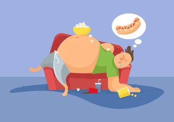 Fat Guy Vector Illustration - vector gratuit #402107