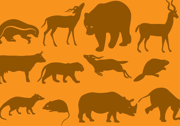 Orange Wild Animal Silhouettes - vector gratuit #402137