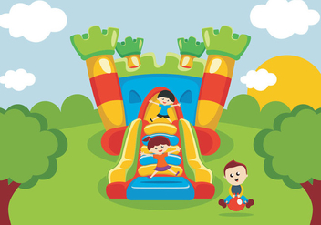 Kids Have Fun On Bounce House - vector gratuit #402237