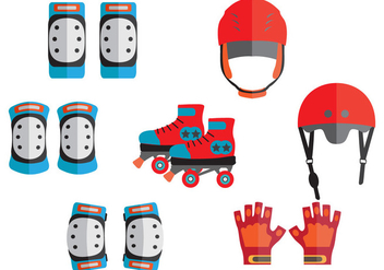 Protective Gear for Roller Skate Vectors - бесплатный vector #402417