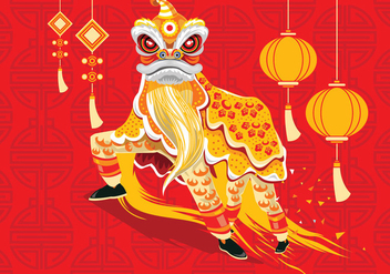 Vector Illustration Traditional Chinese Lion Dance Festival Background - vector gratuit #402427