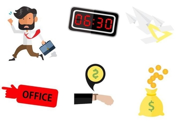 Free Business Man Running Going To Work Vector - vector gratuit #402447