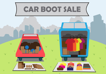 Illustration car boot sale - vector gratuit #402497