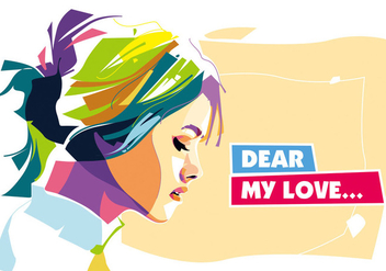 Dear My Love Vector Portrait - vector #402587 gratis
