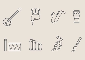 Musical Instrument Icon Vectors - vector gratuit #402637